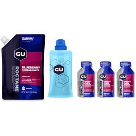 GU Energy Roctane Energy Gel Bundle Bulk Pack 480g + Gel 3 x 32g + Flask, Blueberry Pomegranate